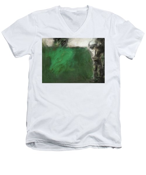 Symbol Mask Painting - 03 Men's V-Neck T-Shirt by Behzad Sohrabi