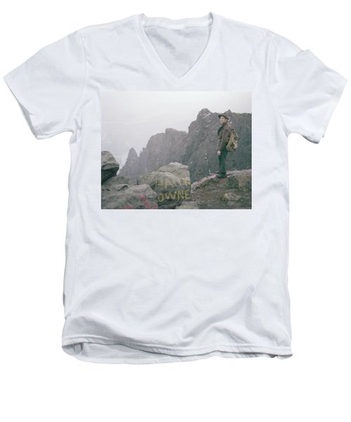 T-04701 Fred Beckey On Mt. Si 1958  Men's V-Neck T-Shirt