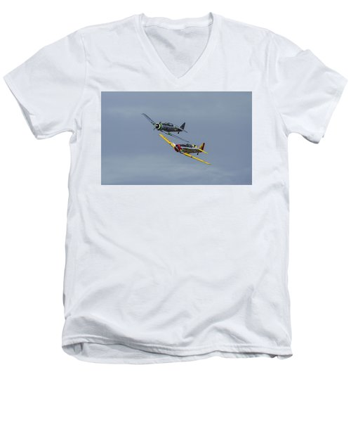 Men's V-Neck T-Shirt featuring the photograph T-6 Trainers by Elvira Butler
