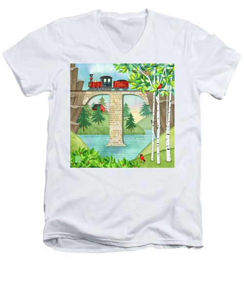 T Is For Train And Train Trestle Men's V-Neck T-Shirt