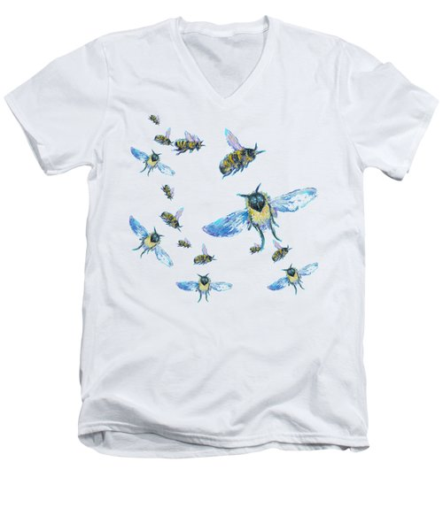 T-shirt With Bees Design Men's V-Neck T-Shirt by Jan Matson