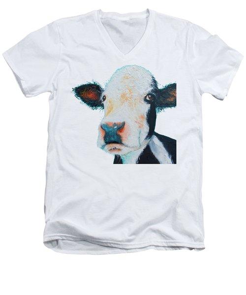 T-shirt With Cow Design Men's V-Neck T-Shirt by Jan Matson