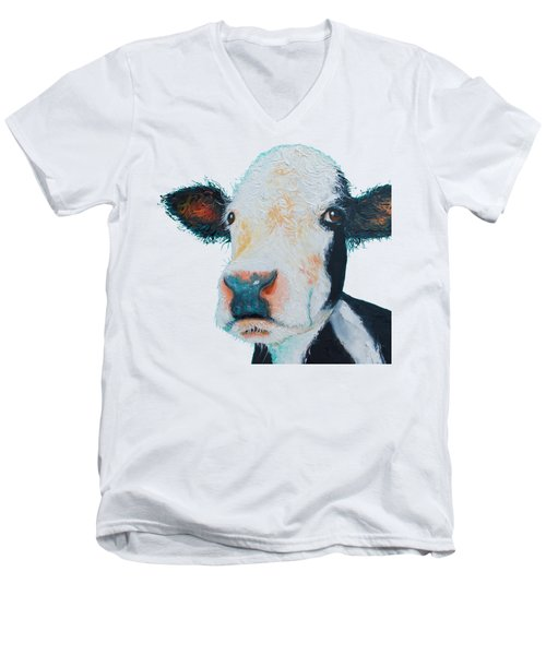 T-shirt With Cow Design Men's V-Neck T-Shirt