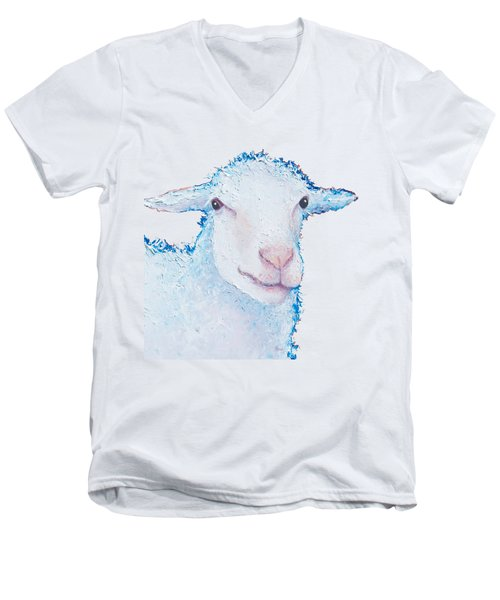 T-shirt With Sheep Design Men's V-Neck T-Shirt by Jan Matson