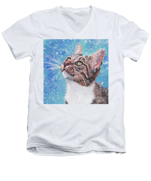 Men's V-Neck T-Shirt featuring the painting Tabby Cat In The Winter by Lee Ann Shepard