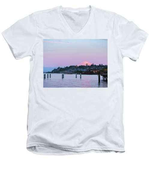 Tacoma Sunset Men's V-Neck T-Shirt by Ken Stanback