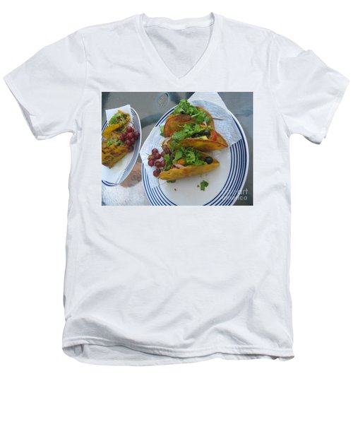 Men's V-Neck T-Shirt featuring the photograph Tacos Almost Mirrored by Marie Neder
