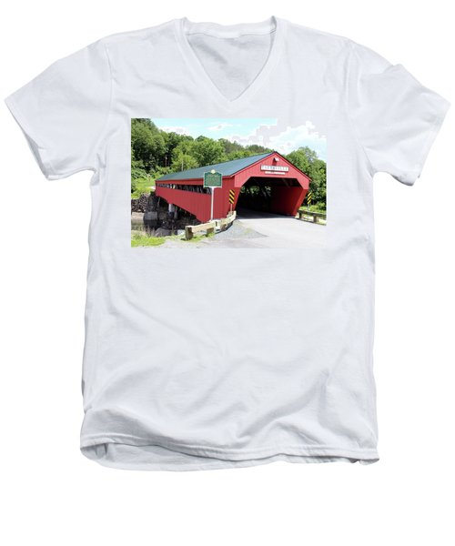 Taftsville Covered Bridge Men's V-Neck T-Shirt