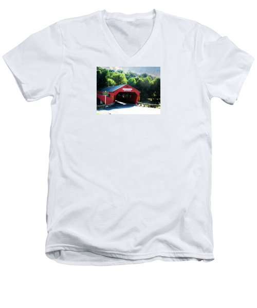 Taftsville Covered Bridge Men's V-Neck T-Shirt by Robin Regan