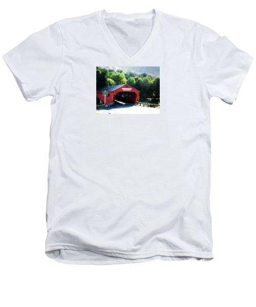 Taftsville Covered Bridge Men's V-Neck T-Shirt
