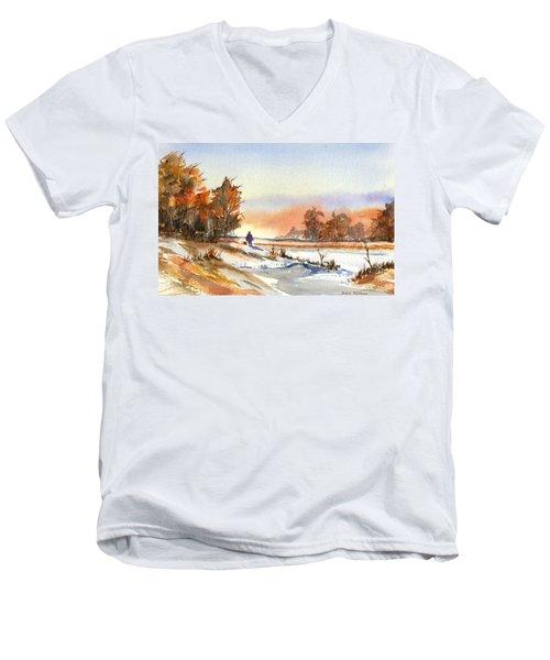 Taking A Walk Men's V-Neck T-Shirt by Debbie Lewis
