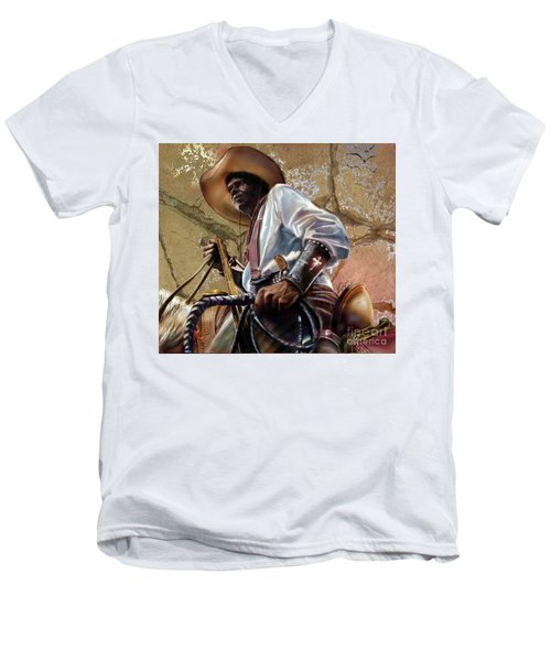 Tall In The Saddle Cowboy Pride 1a Men's V-Neck T-Shirt