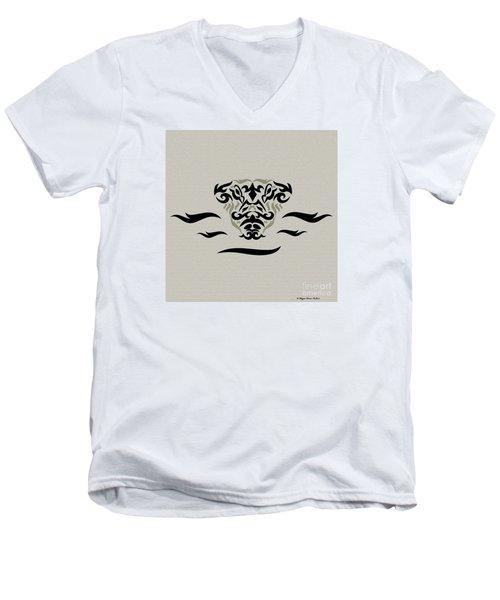 Tan Tribal Gator Men's V-Neck T-Shirt