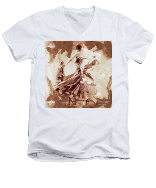 Men's V-Neck T-Shirt featuring the painting Tango Dance 9910j by Gull G