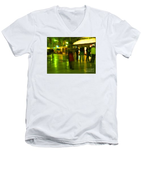 Men's V-Neck T-Shirt featuring the mixed media Tango Dance In Rain by Haleh Mahbod
