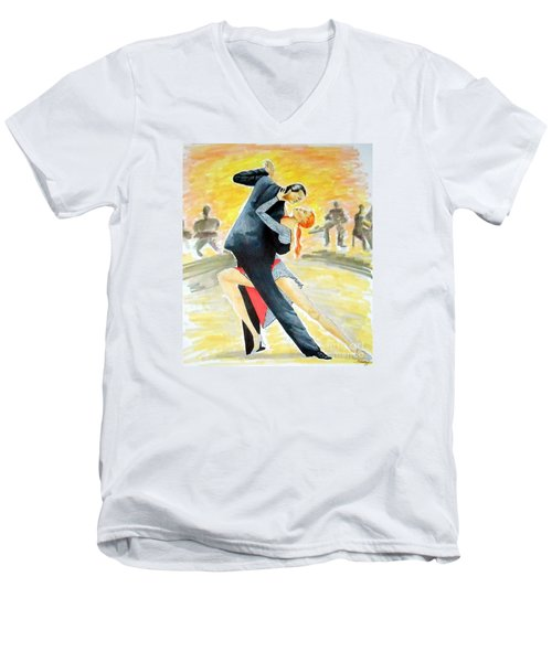 Tango Tangle -- Portrait Of 2 Tango Dancers Men's V-Neck T-Shirt