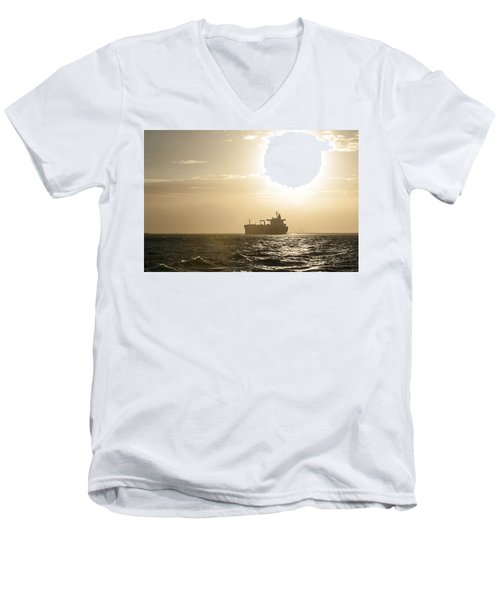 Tanker In Sun Men's V-Neck T-Shirt