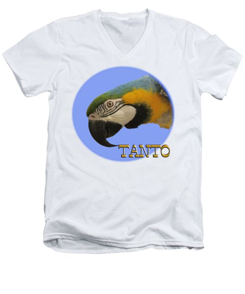 Tanto Men's V-Neck T-Shirt by Zazu's House Parrot Sanctuary