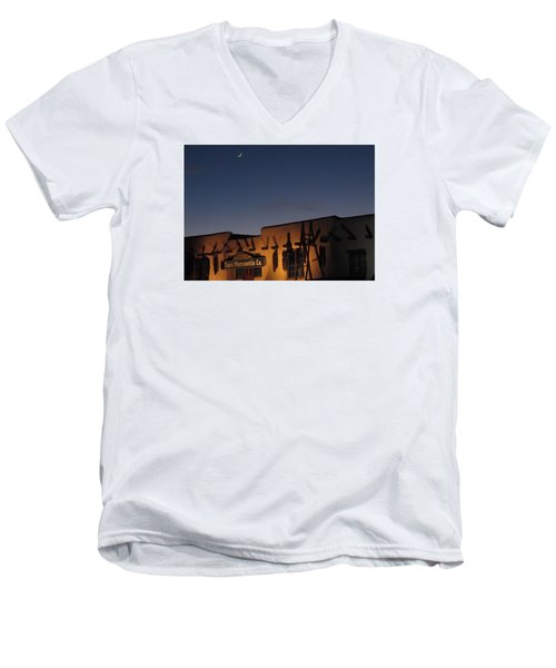 Taos Plaza Men's V-Neck T-Shirt by Christopher Kirby