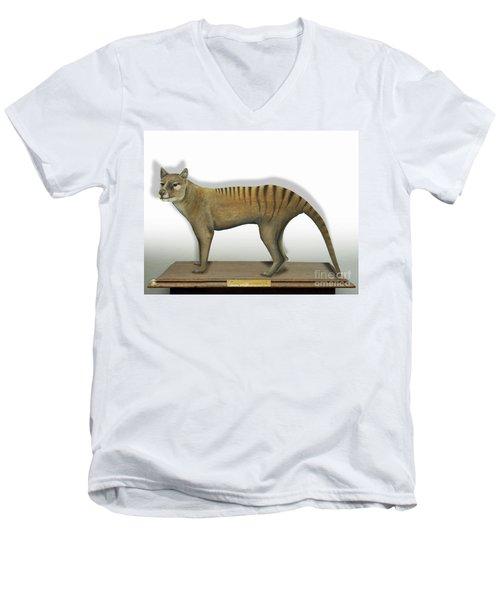 Tasmanian Tiger-thylacinus Cynocephalus-tasmanian Wolf-lobo De Tasmania-tasmanian Loup-beutelwolf    Men's V-Neck T-Shirt