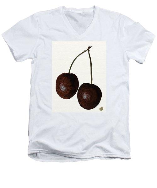Tasty Red Cherries Men's V-Neck T-Shirt by Zilpa Van der Gragt