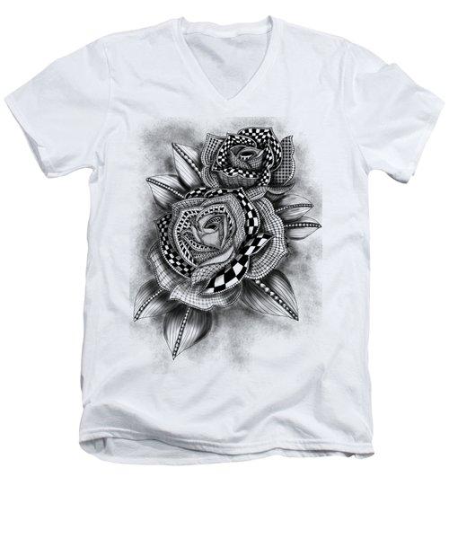 Tattoo Rose Greyscale Men's V-Neck T-Shirt