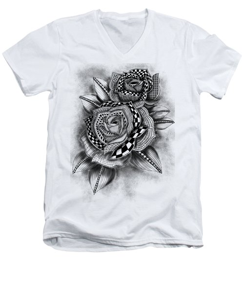 Tattoo Rose Greyscale Men's V-Neck T-Shirt