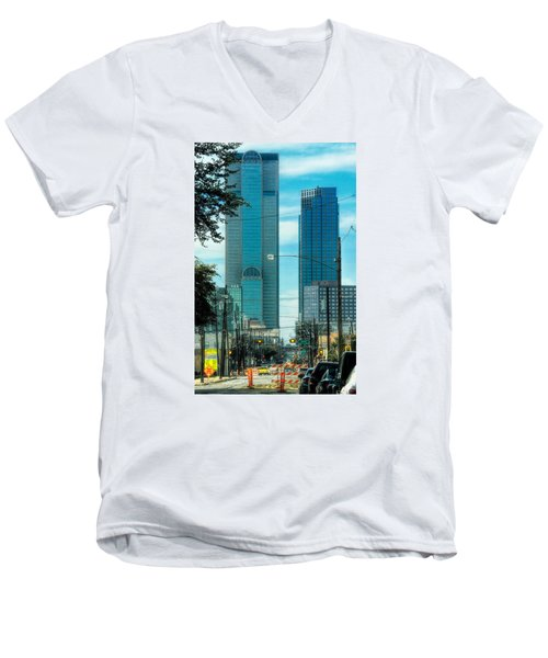 Men's V-Neck T-Shirt featuring the photograph Tax Dollars At Work by Joan Bertucci