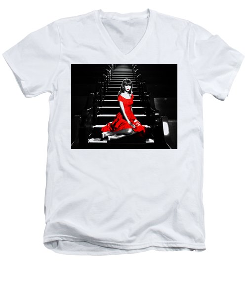 Taylor Swift 8c Men's V-Neck T-Shirt by Brian Reaves