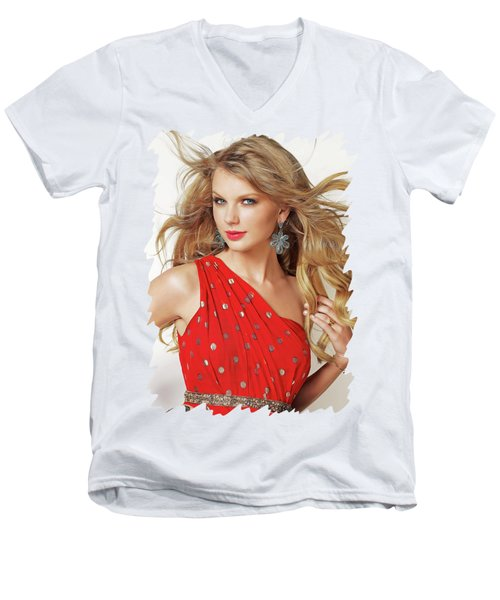 Taylor Swift Men's V-Neck T-Shirt by Twinkle Mehta