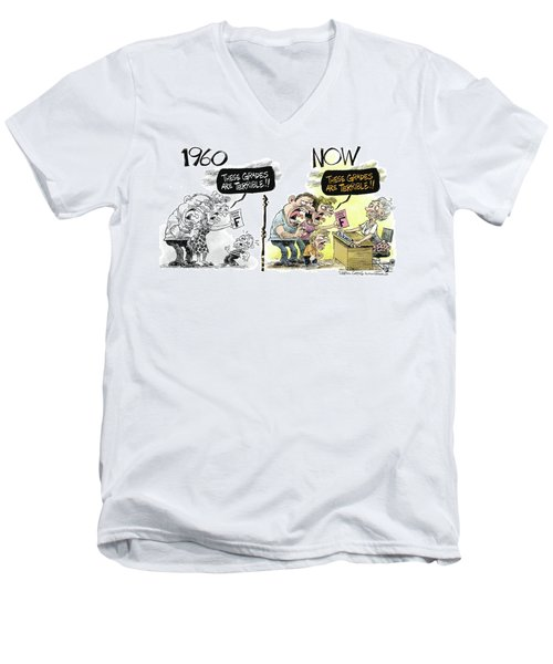 Men's V-Neck T-Shirt featuring the drawing Teachers Then And Now by Daryl Cagle