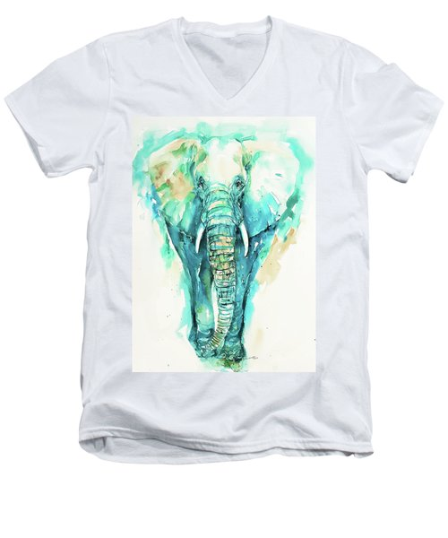 Teal N Turquoise Elephant Men's V-Neck T-Shirt