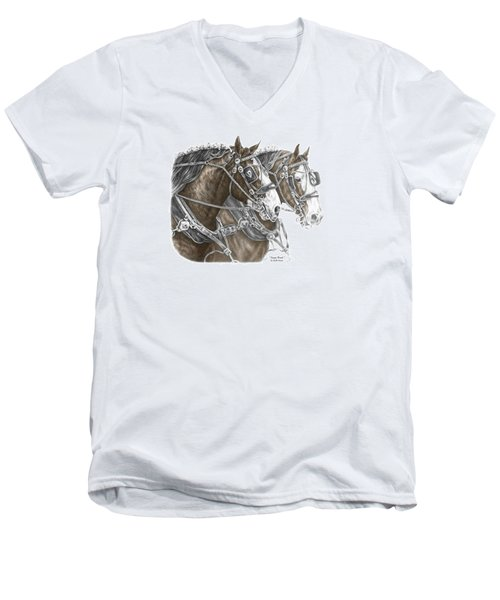 Men's V-Neck T-Shirt featuring the drawing Team Work - Clydesdale Draft Horse Print Color Tinted by Kelli Swan