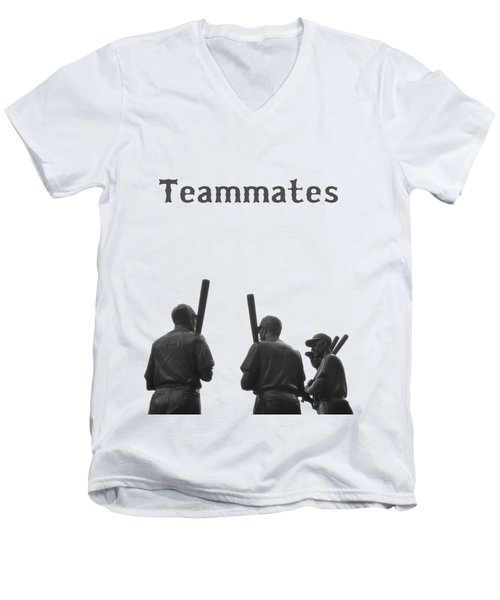 Teammates Poster - Boston Red Sox Men's V-Neck T-Shirt by Joann Vitali
