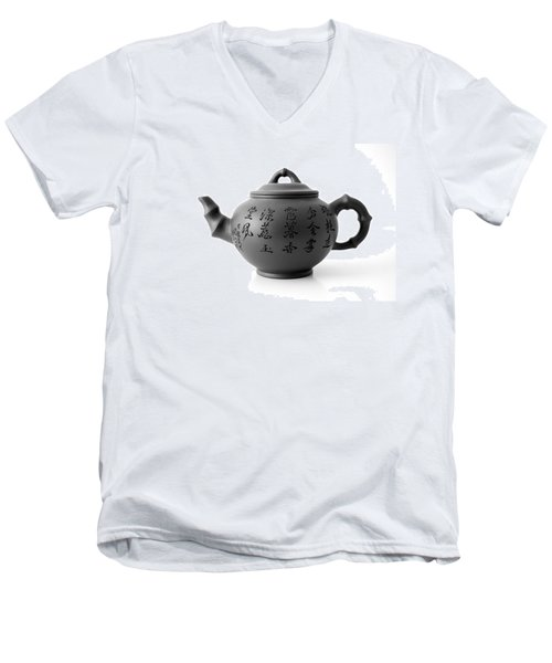 Men's V-Neck T-Shirt featuring the photograph Teapot by Gina Dsgn