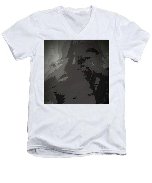 Men's V-Neck T-Shirt featuring the digital art Tears In Koln When 2016 Came by Carolina Liechtenstein