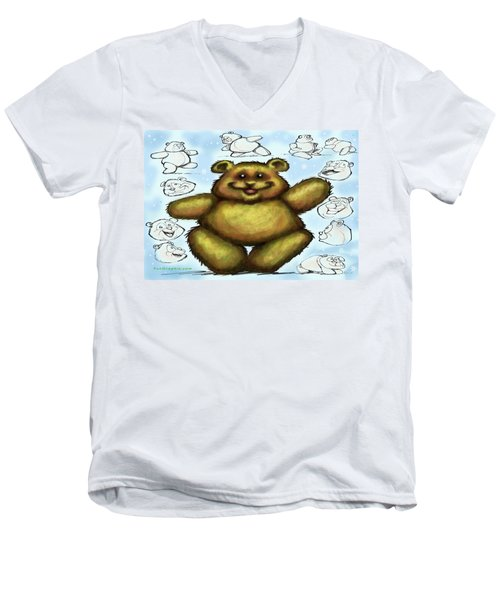 Men's V-Neck T-Shirt featuring the painting Teddy Bear by Kevin Middleton