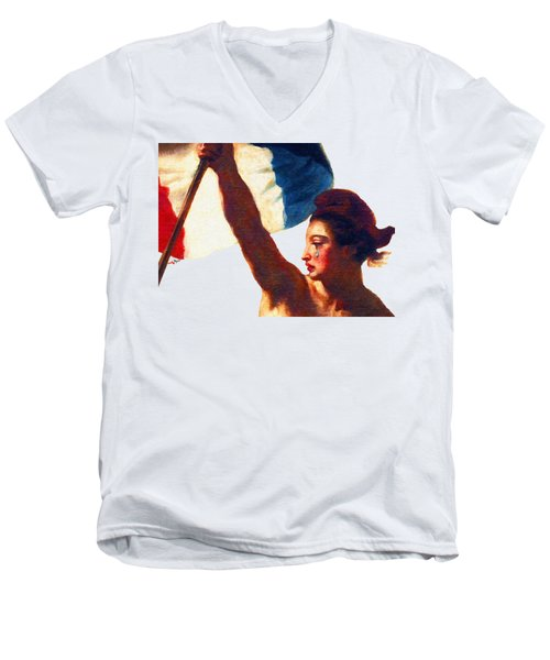 Tee Shirt Vive La France Liberty Weeps Men's V-Neck T-Shirt by Tony Rubino