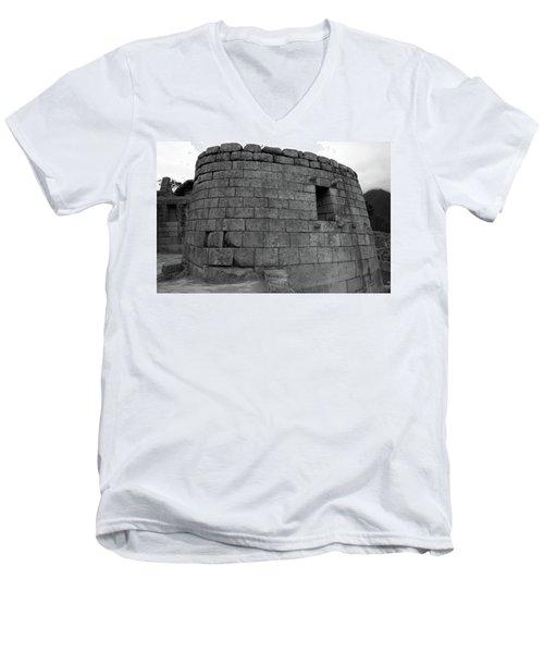 Men's V-Neck T-Shirt featuring the photograph Temple Of The Sun, Machu Picchu, Peru by Aidan Moran