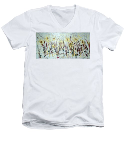 Men's V-Neck T-Shirt featuring the painting Tending My Garden by J R Seymour
