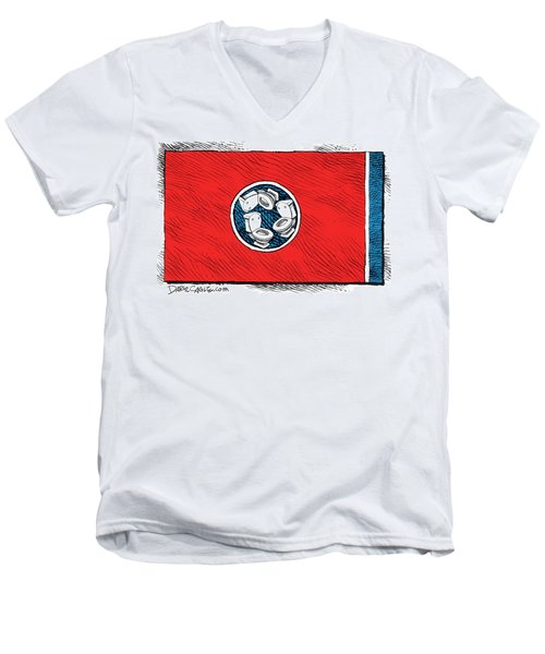 Men's V-Neck T-Shirt featuring the drawing Tennessee Bathroom Flag by Daryl Cagle
