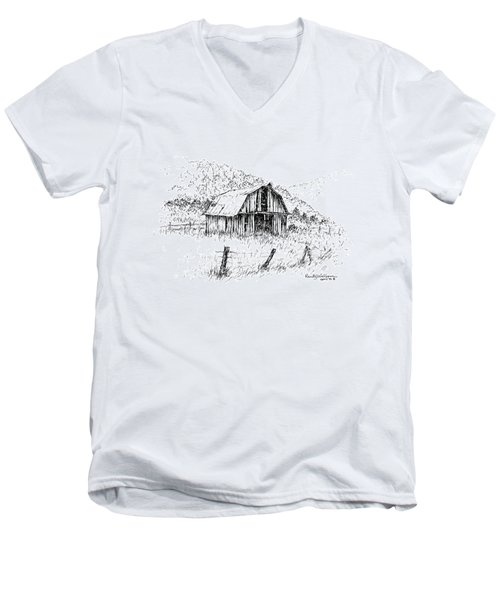 Tennessee Hills With Barn Men's V-Neck T-Shirt