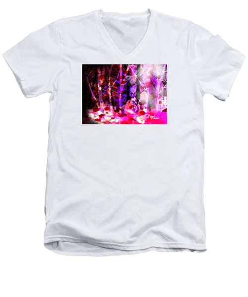 Men's V-Neck T-Shirt featuring the digital art Tentative Hope by Diana Riukas