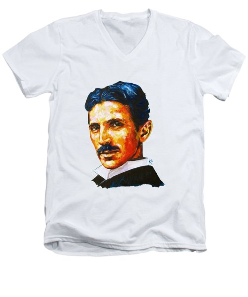 Tesla - Pure Genius Men's V-Neck T-Shirt by Konni Jensen
