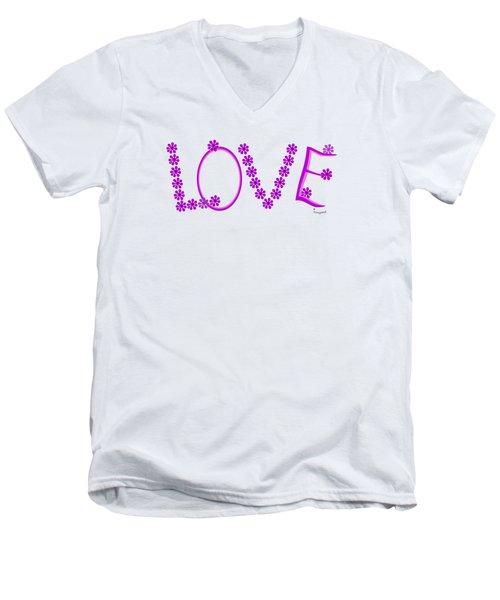 1281 -  Love    Colour Violet Men's V-Neck T-Shirt by Irmgard Schoendorf Welch