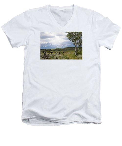 Teton Ranch Men's V-Neck T-Shirt by Diane Bohna