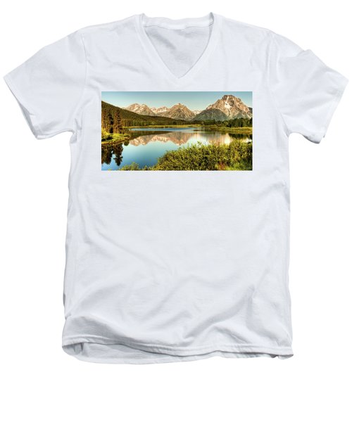 Teton Reflections Men's V-Neck T-Shirt by Rebecca Hiatt