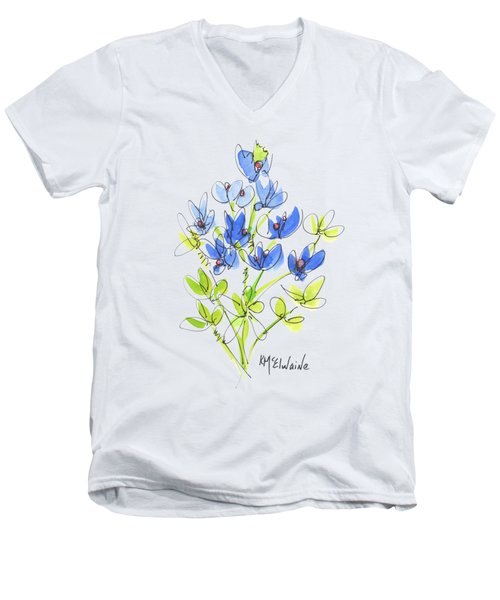 Texas Bluebonnet Botanical Men's V-Neck T-Shirt by Kathleen McElwaine