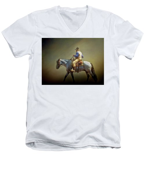 Men's V-Neck T-Shirt featuring the photograph Texas Cowboy And His Horse by David and Carol Kelly