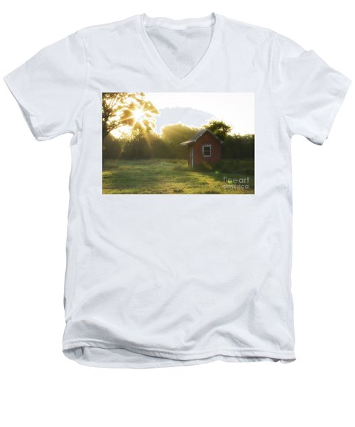 Men's V-Neck T-Shirt featuring the photograph Texas Farm by Vincent Bonafede